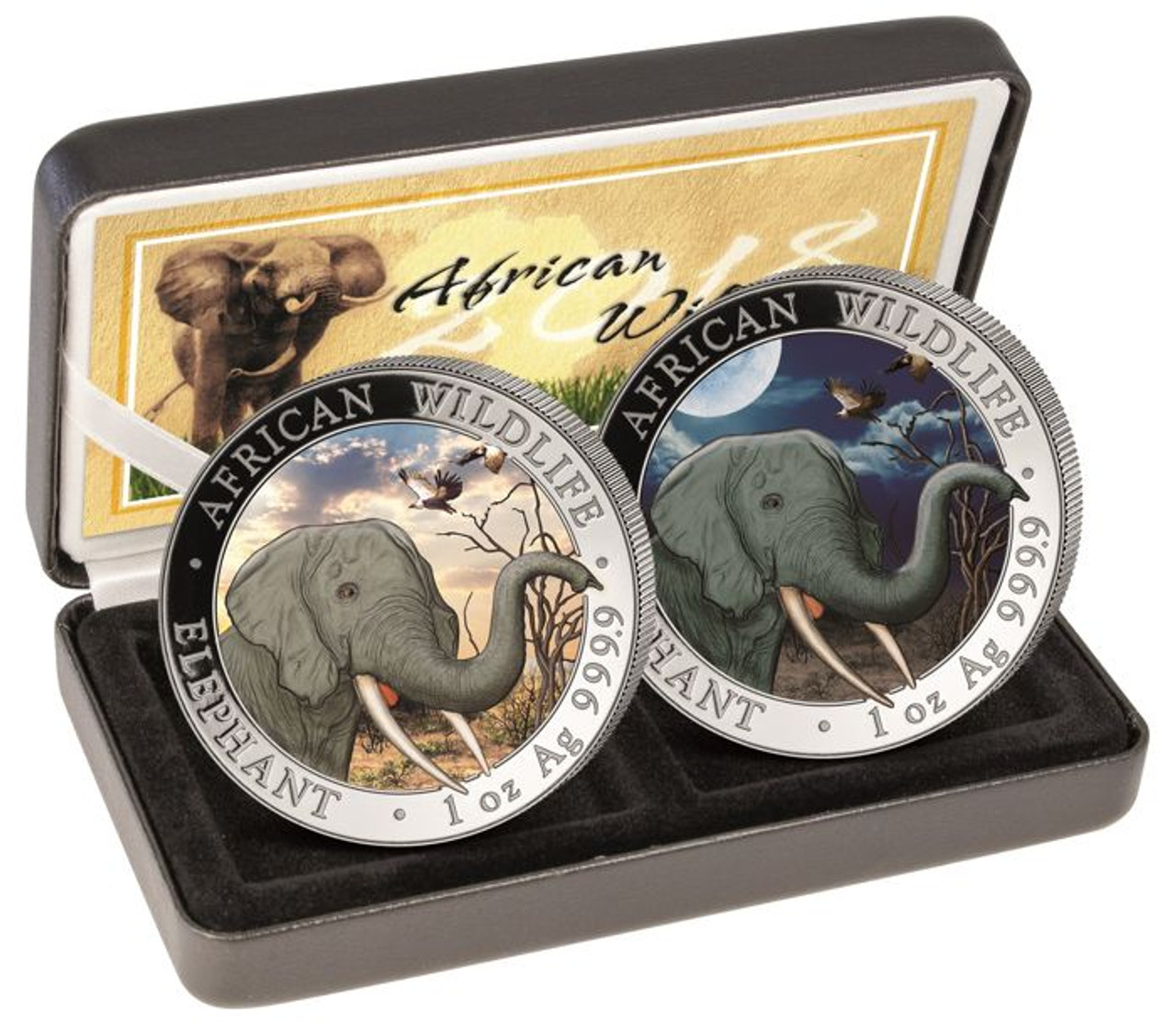2 Coin 2017 Somalian ELEPHANT DAY /& NIGHT Colorized Silver AFRICAN WILDLIFE