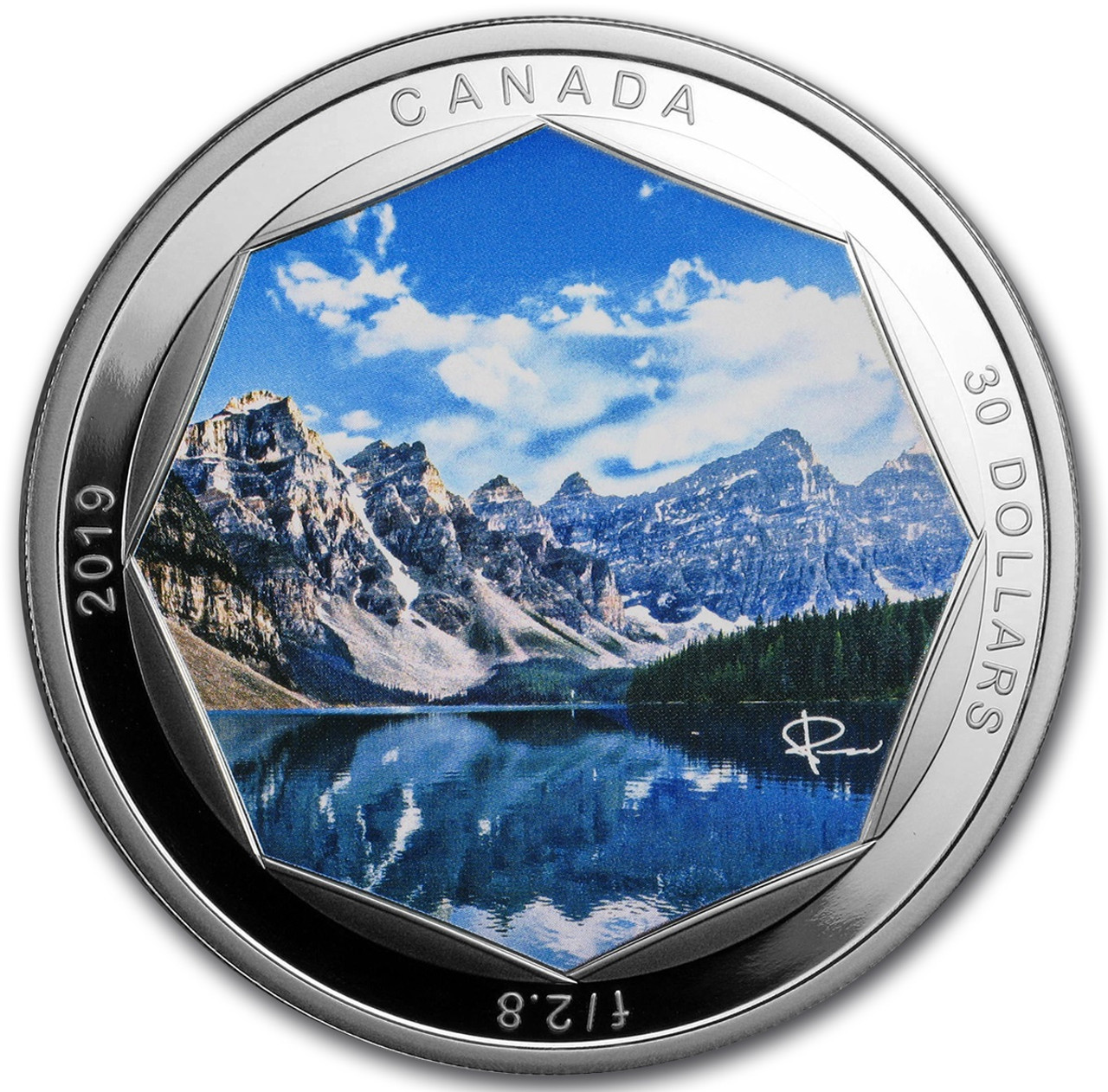 MORAINE LAKE Photo Peter McKinnon 2 Oz Silver Coin 30$ Canada 2019