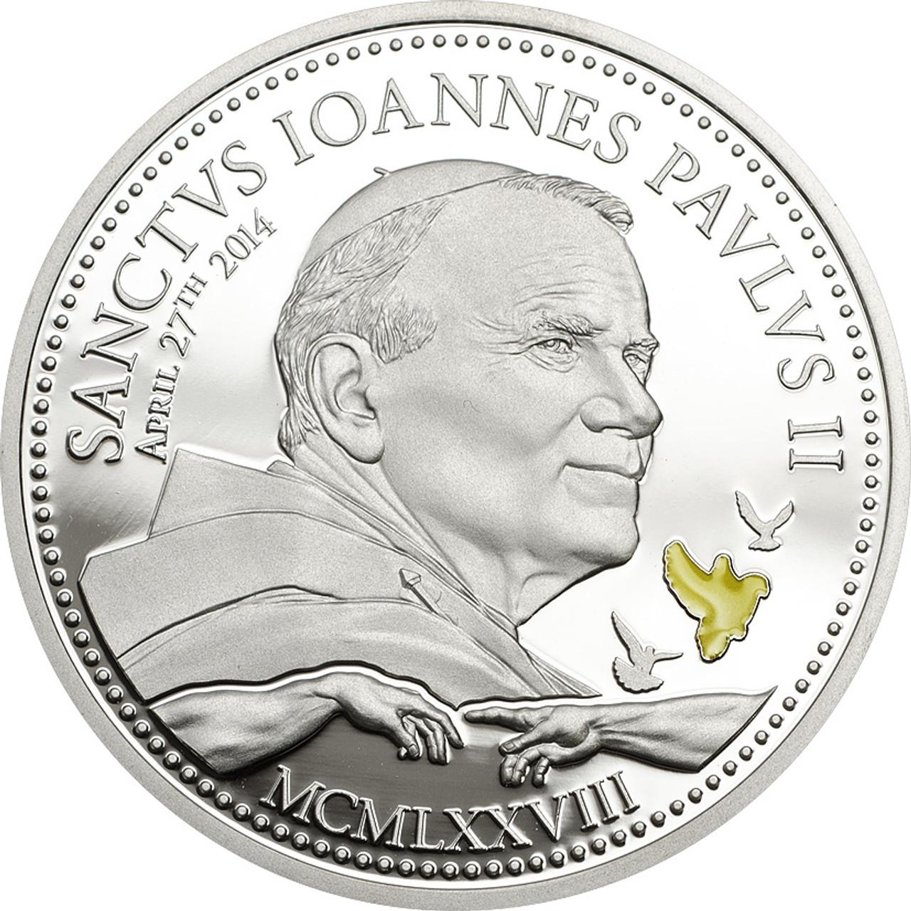 COMPLETE COA POPE JOHN PAUL II 2005 1OZ COOK ISLANDS $1 SILVER PROOF COIN