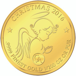 Gold Christmas Coin - 10 Francs 2016 Republic of Rwanda