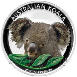 2014 1 oz Silver Coin - Australian Silver Koala - Colored Edition
