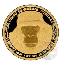 Gold Black Empire  Silverback Gorilla 1 oz .999  Silver Coin 2016 Congo