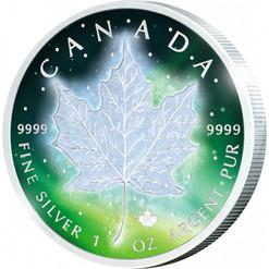 Frozen Maple Leaf 1 oz Silver Rhodium & Color 2016