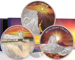 SUN IN SPLENDOUR Grand Canyon Niagara Falls Monument Valley Set Silver Coin 1$ Fiji 2016
