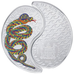 2 SNAKES YIN YANG Lunar Year Silver Coin Set 1$ Fiji 2013