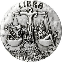Zodiac LIBRA MEMENTO MORI Rimless High Relief Antique Silver 1oz