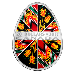 TRADITIONAL PYSANKA - 1 oz Pure Silver Coin $20 2017 Canada