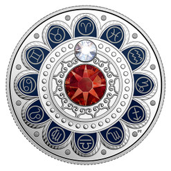 ARIES Zodiac $3 Silver Proof two Swarovski Crystals 2017 Canada