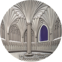 TIFFANY ART WELLS CATHEDRAL Decorated 2 Oz Silver Coin 10$ Palau 2017