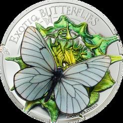 APORIA CRATAEGI Butterfly 3D Silver Coin 500 Togrog Mongolia 2017