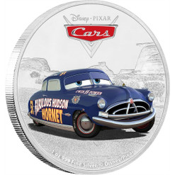 DOC HUDSON - PIXAR CARS - DISNEY - 1 Oz Silver Coins 2$ Niue 2017