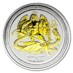 ARCHANGEL MICHAEL Isle of Man - 1 oz Fine Silver 24 K Gold Gilded Coin 2015