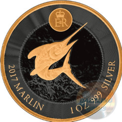 BLUE MARLIN 1 oz Gold Black Empire Silver Coin Cayman Islands 2017