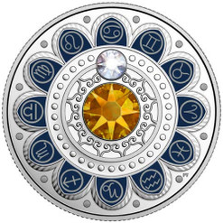CANCER Zodiac $3 Silver Proof two Swarovski Crystals 2017 Canada