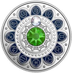 VIRGO Zodiac $3 Silver Proof two Swarovski Crystals 2017 Canada