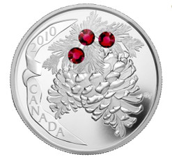RUBY Crystal Pine Cone Silver $20 Coin Canada 2010