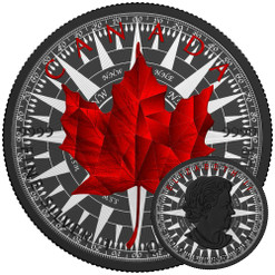 MAPLE LEAF COMPASS - Silver Maple Leaf 1 oz Silver Coin - Black Ruthenium & Color 2017 Canada