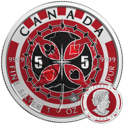 2017 Canada Maple Leaf Poker Chip Colorized 1oz .9999 Silver Coin Box /& COA
