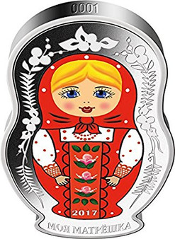 MATRYOSHKA DOLL Matryoshka Russian 1 Oz Silver Coin 5$ Solomon Islands 2017