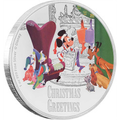 CHRISTMAS GREETINGS Mickey Mouse Seasons Disney 1 Oz Silver Coin 2$ Niue 2017
