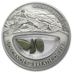 Volcanoes Mt St Helens BREATH OF FIRE Silver $10 Fiji 2013