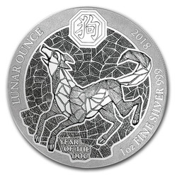 YEAR OF THE DOG- RWANDA LUNAR OUNCE - 2018 1 oz Silver Coin