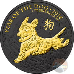 LUNAR DOG 1 oz Silver Gold Black Empire Coin 2018 UK