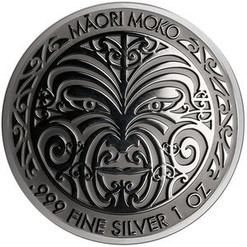 MAORI MOKKO Art Ruthenium 1 Oz Silver Coin 5$ Tokelau 2017