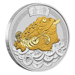 MONEY TOAD – 1 OZ Fine Silver Gilded Coin Tuvalu 2018