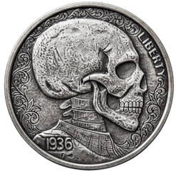 SKULLS & SCROLLS 1 oz Silver Antique finish round with Serial Number