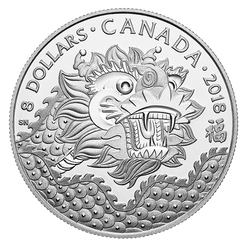 DRAGON LUCK – $8 1/4 OZ Fine Silver Coin Canada 2018