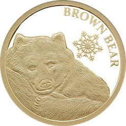Brown Bear SNOWFLAKE BEARS 0.5 g Pure Gold Coin Tokelau 2018  brown