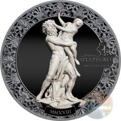 RAPE OF PROSERPINA Eternal Sculptures 2 Oz Silver Coin 10$ Palau 2018