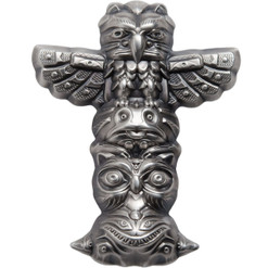 TOTEM POLE Shaped 2 Oz Silver Coin 10$ Palau 2018