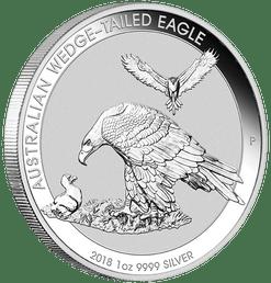 AUSTRALIA WEDGE TAILED EAGLE – 2018 1 OZ BU SILVER COIN IN CAPSULE