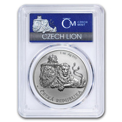 CZECH DOUBLE-TAILED LION - 1 oz Silver Coin MS-69 PCGS FS 2018 Niue