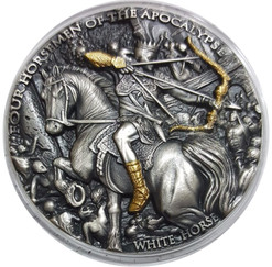 WHITE HORSE- FOUR HORSEMEN High Relief 2 oz silver coin Niue 2018