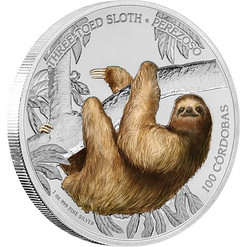 SLOTH Three-Toed Wildlife 1 Oz Silver Coin 100 Cordobas Nicaragua 2018