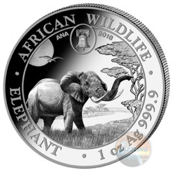 2019 ELEPHANT - EXCLUSIVE Philadelphia ANA PRIVY- 1 Oz Silver Coin Somalia