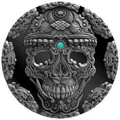 KAPALA SKULL - World Cultures 2 oz Silver Coin Antique finish Cameroon 2018