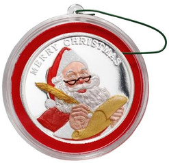 2018 SANTA CLAUS Color 1 oz Fine Silver Christmas Round