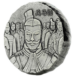 TERRACOTTA ARMY - 5 oz Antique-Polished Silver Coin 2018 Fiji
