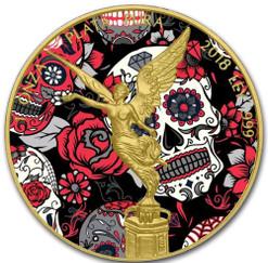 DIA DE LOS MUERTOS LIBERTAD 24K Gold PL 1 oz Silver Coin MEXICO 2018