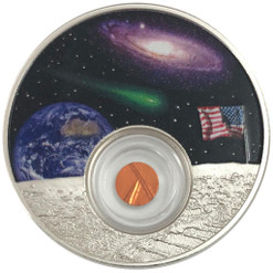 50th Ann. of the Moon Landing 1 Oz Silver - Proof - Locket Coin in Color Niue 2018