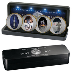 1969 KENNEDY Moon Landing Unique coin set 4 x 1/2 $ 2019