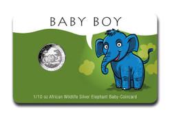Baby BOY Coin Card 1/10 oz Silver Elephant 2019 Somalia
