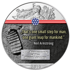 FIRST STEP ON THE MOON- 50th. ANN. MOON LANDING 1 oz Silver Eagle Coin 2019 USA