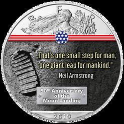 FIRST STEP ON THE MOON- 50th. ANN. MOON LANDING 1 oz Silver Eagle Coin 2019 USA