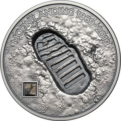 MOON LANDING Footprint Meteorite 1 Oz Silver Coin Cook Islands 2019