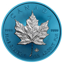 MAPLE LEAF Space Blue Edition 1 oz Silver Coin Canada 2019